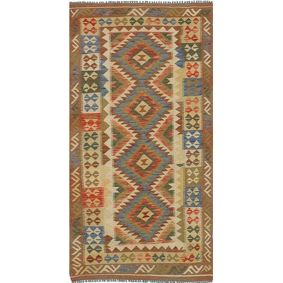 One-of-a-Kind Valasco Hand-Woven Wool Cream/Brown Area Rug