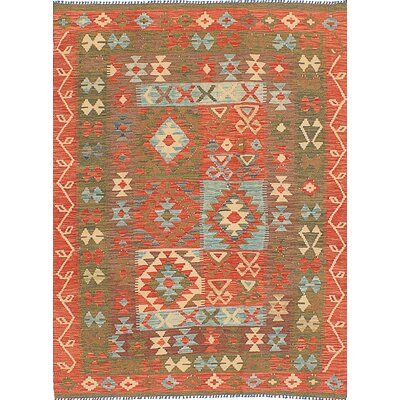 One-of-a-Kind Valencia Hand-Woven Wool Red/Olive Area Rug