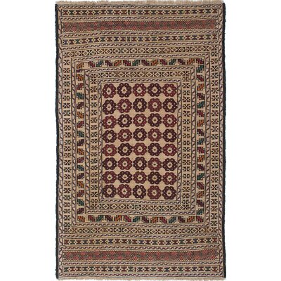 One-of-a-Kind Mcdonell Hand-Woven Wool Ivory/Red Area Rug
