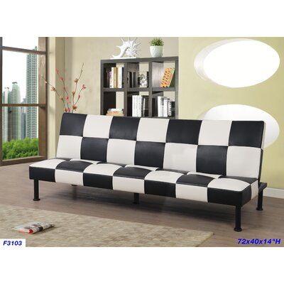 Cuascut Futon Covertible Sofa Upholstery: Black/White