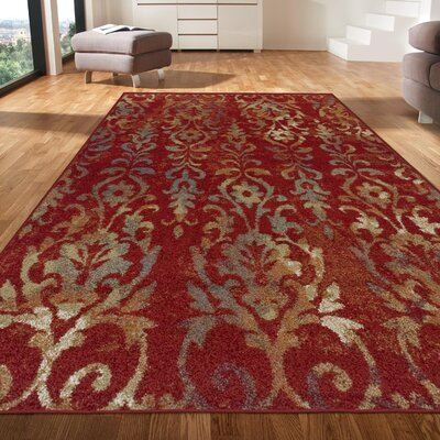 Clemmie Maroon/Gray Area Rug Rug Size: Rectangle 5 x 8