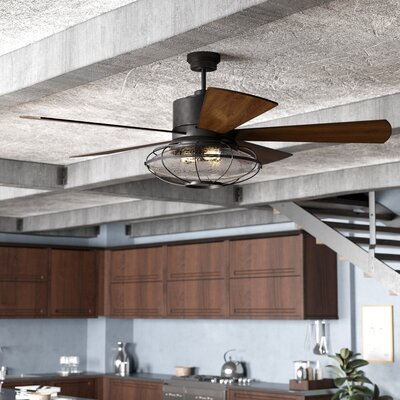 56 Roberts 5 Blade Ceiling Fan with Remote Control Finish: English Bronze with Walnut Blades