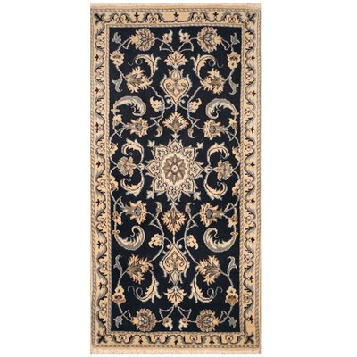 One-of-a-Kind Ertha Hand-Knotted Navy/Ivory Area Rug