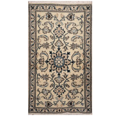 One-of-a-Kind Ertha Hand-Knotted Ivory/Blue Area Rug