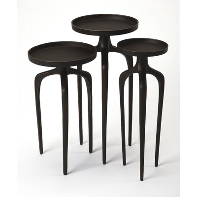 Minix 3 Piece Nesting Tables Color: Black