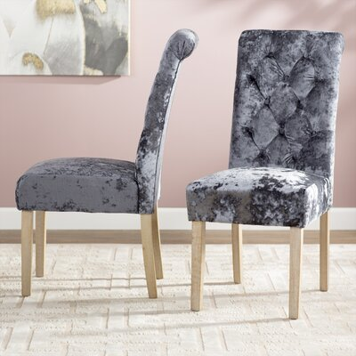 Toland Button Tufted Upholstered Dining Chair Upholstery: Charcoal