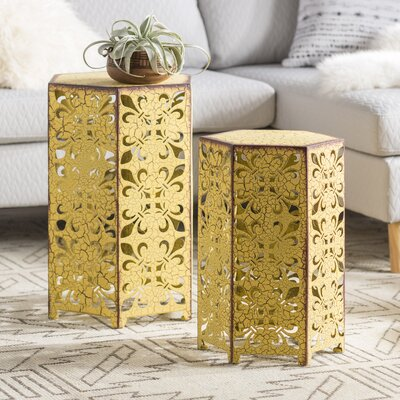 Lexia 2 Piece Nesting Tables Color: Antique Yellow