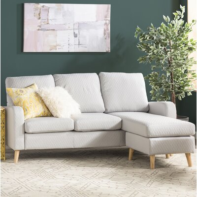 Shaina Reversible Sectional Upholstery: Light Gray