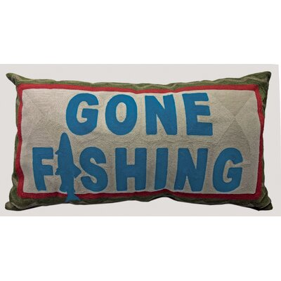 Vanegas Gone Fishing Chain Stitch Lumbar Pillow