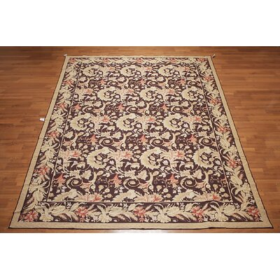 Garson One-of-a-Kind Needlepoint Aubusson Traditional Oriental Hand-Woven Wool Dark Chocolate Area Rug