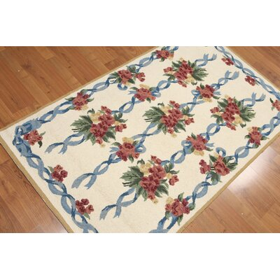 Gere One-of-a-Kind Traditional Oriental Hand-Knotted Wool Ivory Area Rug
