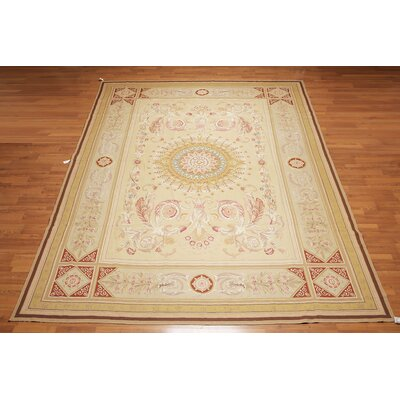 Puau One-of-a-Kind Needlepoint Aubusson Traditional Oriental Hand-Woven Wool Tan Area Rug