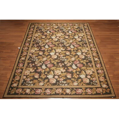 Garvyn One-of-a-Kind Needlepoint Aubusson Traditional Oriental Hand-Woven Wool Dark Brown Area Rug