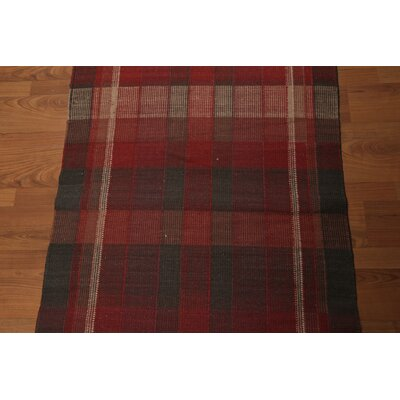 Watchman One-of-a-Kind Flat Pile Burberry Modern Oriental Hand-Knotted Wool Red Area Rug