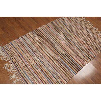 Waterman One-of-a-Kind Flat Pile Dhurry Modern Oriental Hand-Woven Cotton Red Area Rug