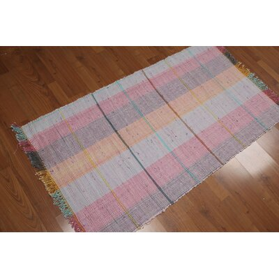 Evans-Weekes One-of-a-Kind Flat Pile Modern Oriental Hand-Woven Cotton Burnt Orange Area Rug