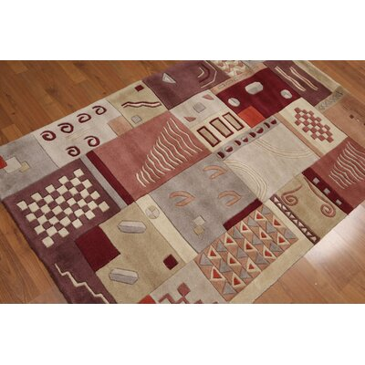 Pritt One-of-a-Kind Modern Oriental Hand-Knotted Wool Beige Area Rug