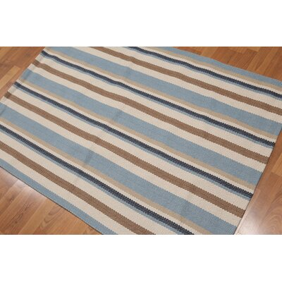 Wick, Somerset One-of-a-Kind Reversible Modern Oriental Hand-Knotted Wool Aqua Area Rug