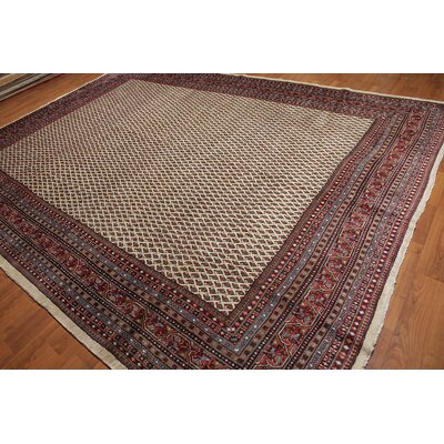 Genivee One-of-a-Kind Paisley Traditional Oriental Hand-Knotted Wool Beige Area Rug