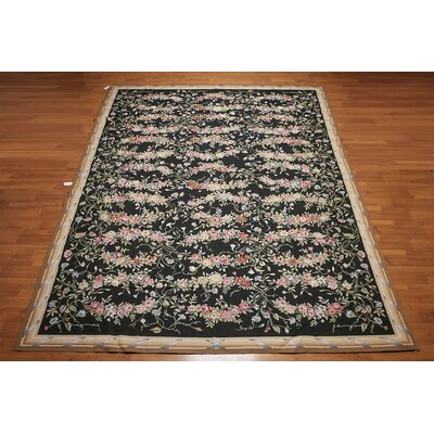 Geffrey One-of-a-Kind Needlepoint Aubusson Traditional Oriental Hand-Woven Wool Black Area Rug
