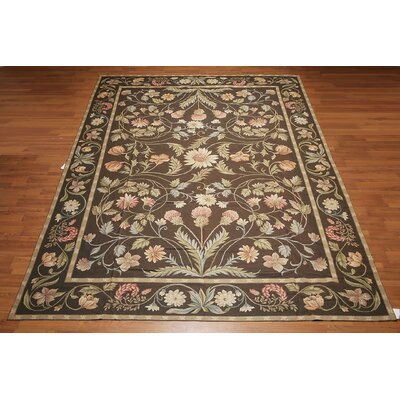 Gascon One-of-a-Kind Needlepoint Aubusson Traditional Oriental Hand-Woven Wool Chocolate Brown Area Rug