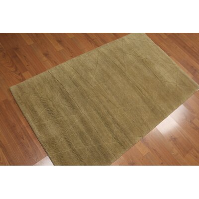 Sokolowski One-of-a-Kind Modern Oriental Hand-Knotted Wool Mustard Area Rug