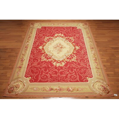 Gaspar One-of-a-Kind Needlepoint Aubusson Traditional Oriental Hand-Woven Wool Crimson Red Area Rug