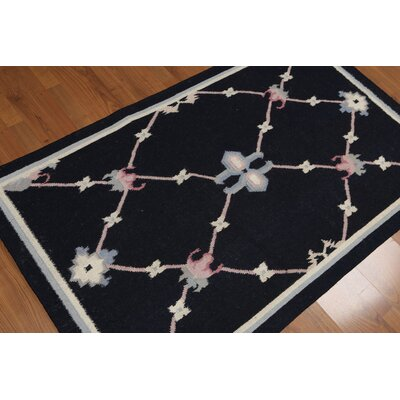 Kruck One-of-a-Kind Dhurry Kilim Reversible Modern Oriental Hand-Woven Wool Midnight Blue Area Rug