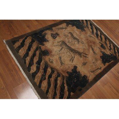 Pritts Pile Modern Oriental Wool Tan Area Rug
