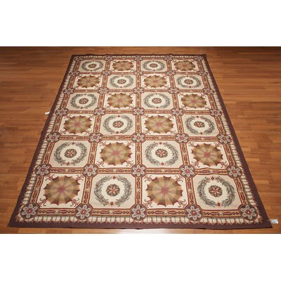 Gelsomina One-of-a-Kind Needlepoint Aubusson Traditional Oriental Hand-Woven Wool Beige Area Rug