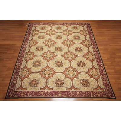 Gaspard One-of-a-Kind Needlepoint Aubusson Traditional Oriental Hand-Woven Wool Beige Area Rug