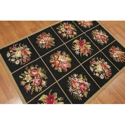 Geoff One-of-a-Kind Needlepoint Aubusson Traditional Oriental Hand-Woven Wool Black Area Rug