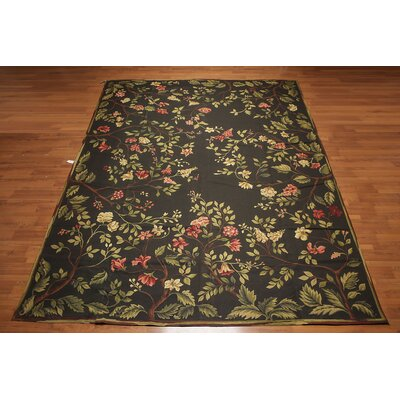 Geneve One-of-a-Kind Needlepoint Aubusson Traditional Oriental Hand-Woven Wool Deep Green Area Rug