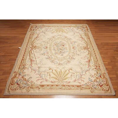 Gauthier One-of-a-Kind Needlepoint Aubusson Traditional Oriental Hand-Woven Wool Light Peach Area Rug