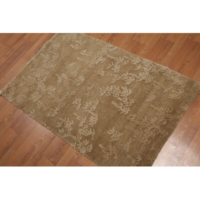 Sohn One-of-a-Kind Transitional Oriental Hand-Knotted Wool Light Olive Area Rug