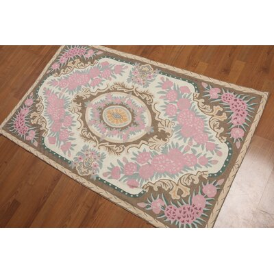 Gerhardina One-of-a-Kind Needlepoint Aubusson Traditional Oriental Hand-Knotted Wool Ivory Area Rug
