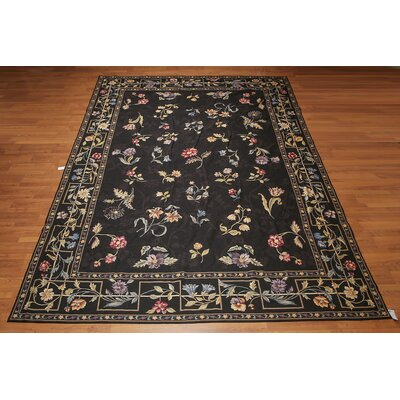 Genevra One-of-a-Kind Needlepoint Aubusson Traditional Oriental Hand-Woven Wool Black Area Rug