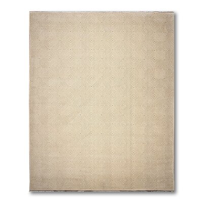 Birkett One-of-a-Kind Modern Oriental Hand-Knotted Wool Ivory Area Rug
