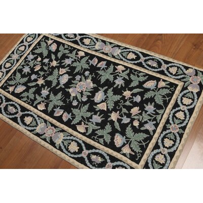 Vakil One-of-a-Kind Needlepoint Aubusson Traditional Oriental Hand-Knotted Wool Midnight Blue Area Rug