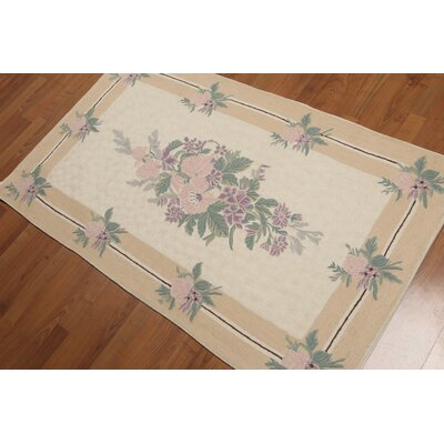 Celik One-of-a-Kind Needlepoint Aubusson Traditional Oriental Hand-Knotted Wool Beige Area Rug