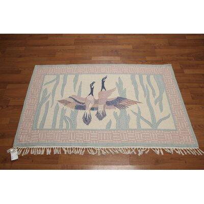 Ireland One-of-a-Kind Chainstitch Modern Oriental Hand-Knotted Wool Ivory Area Rug