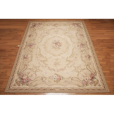Garron One-of-a-Kind Needlepoint Aubusson Traditional Oriental Hand-Woven Wool Beige Area Rug