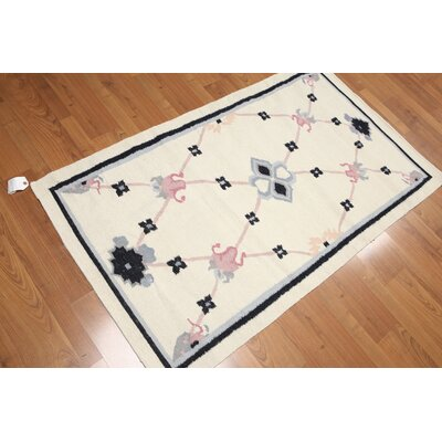 Pfeffer One-of-a-Kind Dhurry Kilim Reversible Traditional Oriental Hand-Woven Wool Ivory Area Rug