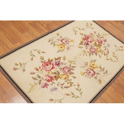 Gerwalta One-of-a-Kind Needlepoint Traditional Oriental Hand-Woven Wool Beige Area Rug