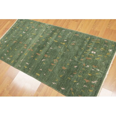 Prosser One-of-a-Kind Persian Modern Oriental Hand-Knotted Silk Green Area Rug