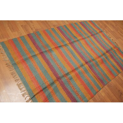 Solano One-of-a-Kind Kilim Traditional Oriental Hand-Woven Aqua Area Rug