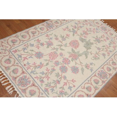 Keary One-of-a-Kind Needlepoint Aubusson Traditional Oriental Hand-Woven Wool Beige Area Rug