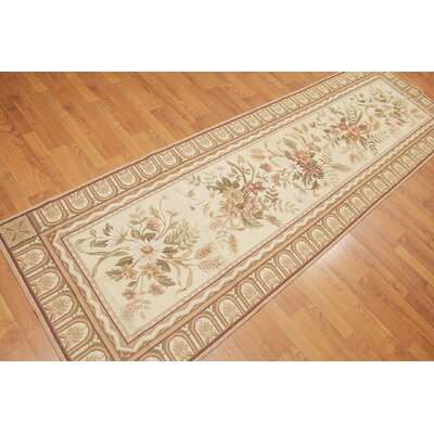 Rajal One-of-a-Kind Needlepoint Traditional Oriental Hand-Woven Wool Beige Area Rug