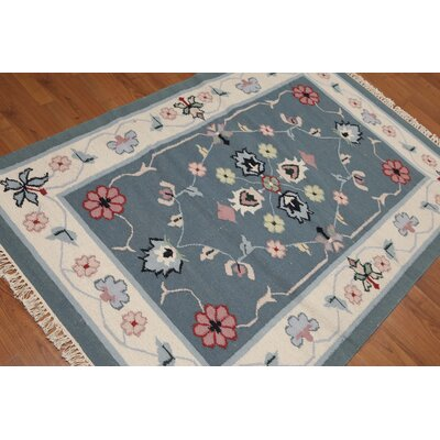 Zorubaite One-of-a-Kind Dhurry Kilim Reversible Traditional Oriental Hand-Woven Wool Blue Area Rug