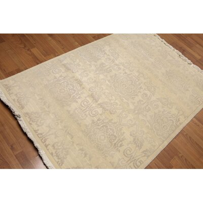 Proto One-of-a-Kind Contemporary Oriental Hand-Knotted Wool Beige Area Rug
